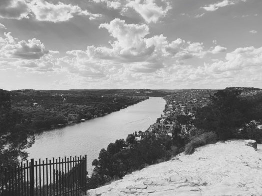 the view of the colorado river from mt. bonnell, austin, texas